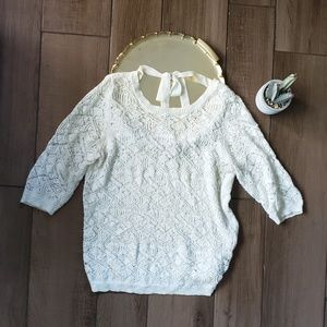 LC Lauren Conrad Crochet Knit crew sweater L